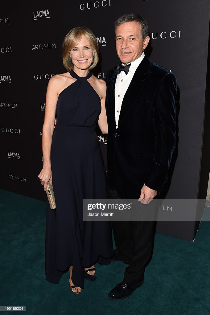 Trustee Willow Bay (L) and Bob Iger attend LACMA 2015 Art+Film Gala Honoring James Turrell and Alejandro G Iñárritu, Presented by Gucci at LACMA on November 7, 2015 in Los Angeles, California.