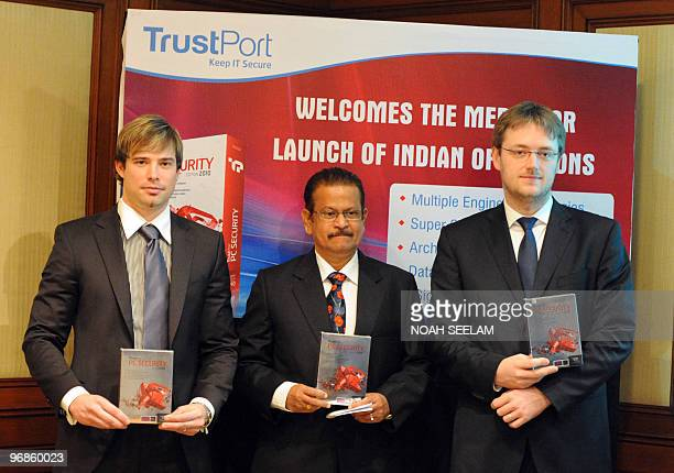 TrustPort CEO Vladislav Nemec Country Manager Kiran A Rao and International Sales Manager Roamn Veleba launch their product on the Indian antivirus...