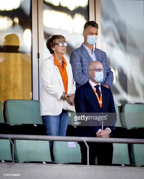 Truus van Gaal, Louis van Gaal and Gijs de Jong during the friendly match between the Netherlands and Scotland at Estadio Algarve on June 02, 2021 in...