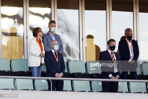Truus van Gaal, Louis van Gaal and KNVB general manager Eric Gudde during the friendly match between the Netherlands and Scotland at Estadio Algarve...