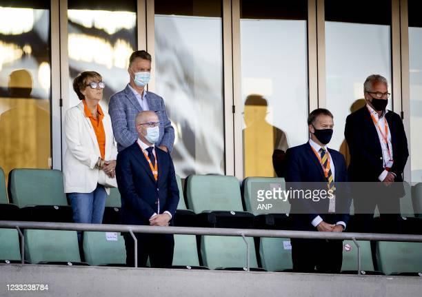 Truus van Gaal, Louis van Gaal, Gijs de Jong and KNVB general manager Eric Gudde during the friendly match between the Netherlands and Scotland at...