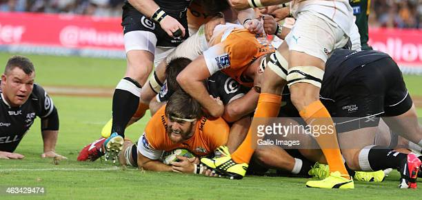 Try for Boom Prinsloo of the Cheetahs during the Super Rugby match between Cell C Sharks and Toyota Cheetahs at Growthpoint Kings Park on February 14...