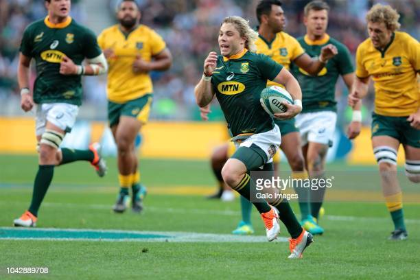 Try scorer Faf de Klerk of South Africa during the Rugby Championship match between South Africa and Australia at Nelson Mandela Bay Stadium on...