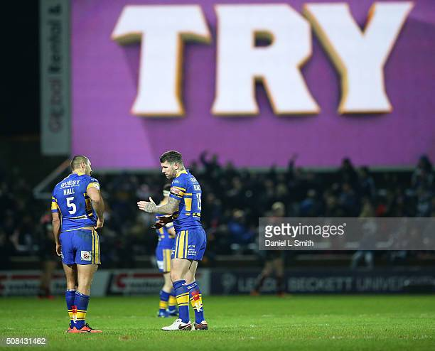 A try was awarded to Brad Singleton of Leeds Rhinos by the video referee during the First Utility Super League opening match between Leeds Rhinos and...