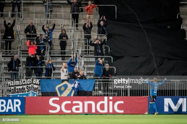 Tryggvi Hrafn Haraldsson of Halmstad BK celebrates after scoring 13 to Halmstad BK during the Allsvenskan match between Hammarby IF and Halmstad BK...