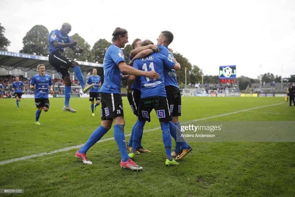 Tryggvi Hrafn Haraldsson of Halmstad BK celebrates with teammates after scoring 2-0 at Orjans Vall on September 23, 2017 in Halmstad, Sweden.