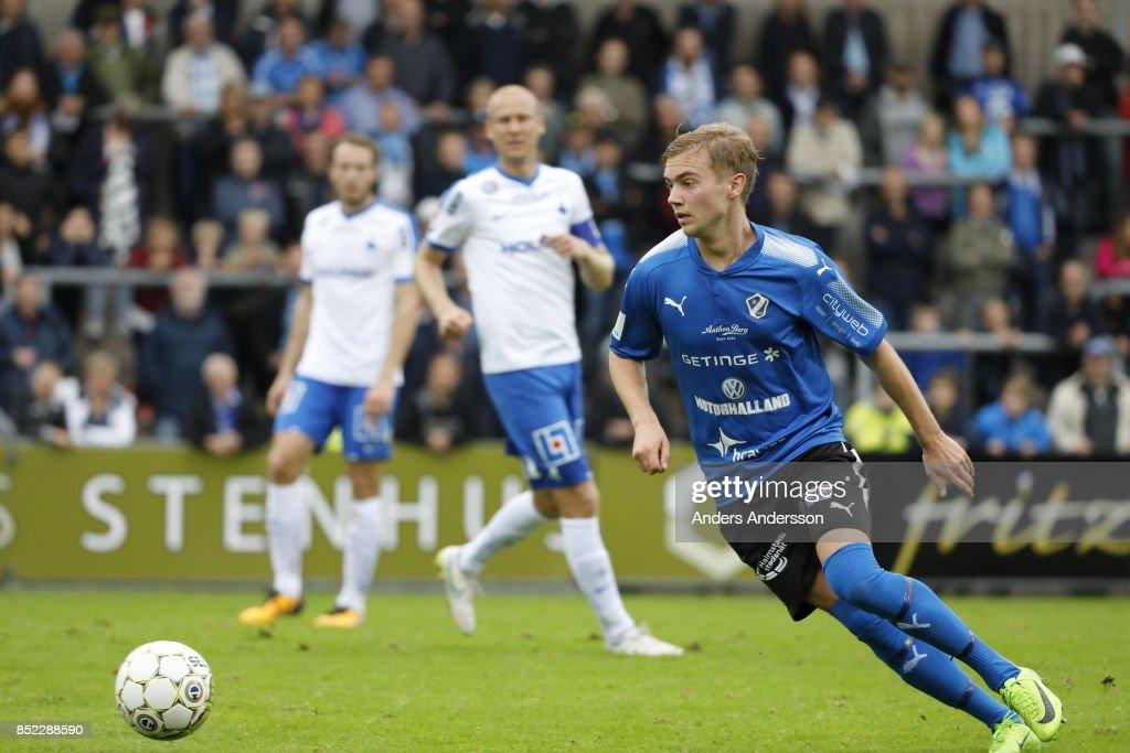 Tryggvi Hrafn Haraldsson of Halmstad BK runs with the ball at Orjans Vall on September 23, 2017 in Halmstad, Sweden.