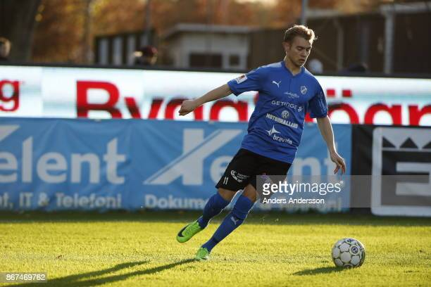Tryggvi Hrafn Haraldsson of Halmstad BK runs with the ball during the Allsvenskan match between Halmstad BK and Athletic FC Eskilstuna at Orjans Vall...
