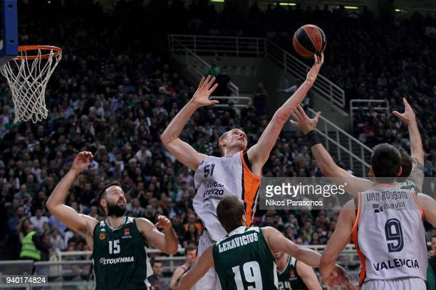 Tryggvi Snaer Hlinason #51 of Valencia Basket in action during the 2017/2018 Turkish Airlines EuroLeague Regular Season Round 29 game between...
