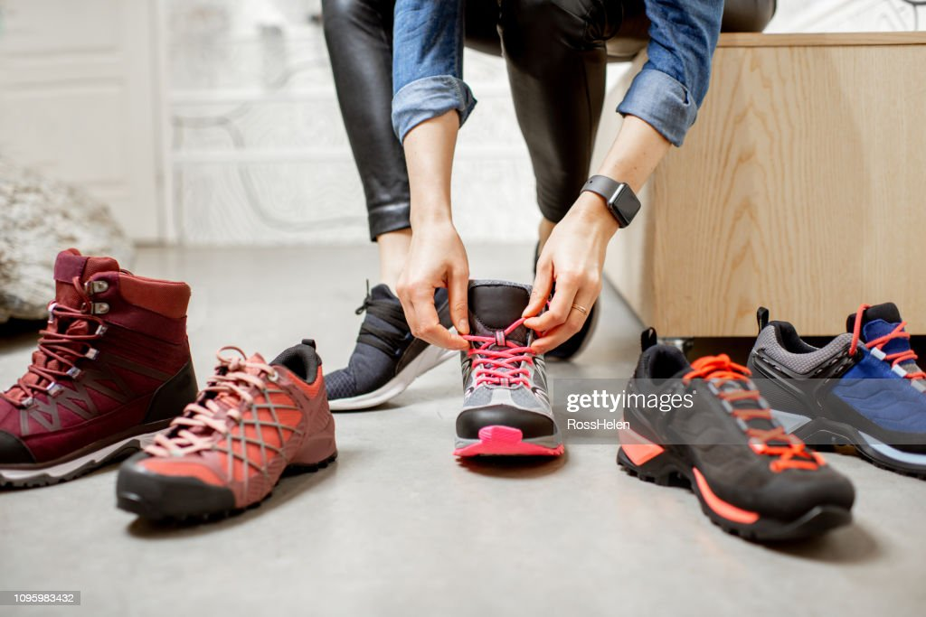 Trying different trail shoes for hiking : Stock Photo