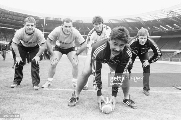 Trying Rugby the Ameriacn Way are Widnes players front Kevin Tamati Back left to right Andy Gregory Mike O'Neill Joe Lydon and John Bassnett as they...
