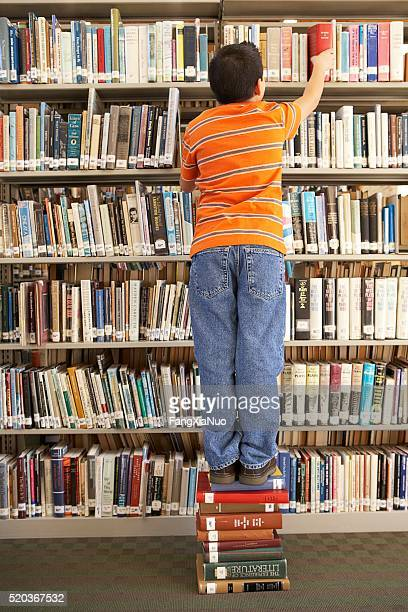 Trying to reach a book on the top shelf
