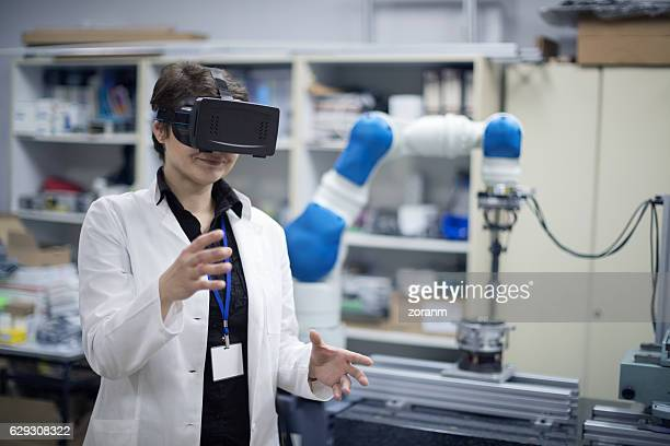 Trying virtual reality simulator glasses in lab