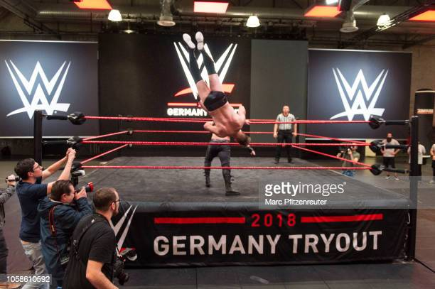 Tryout talents compete at the WWE Live Tryout at the Motorworld on November 7 2018 in Cologne Germany