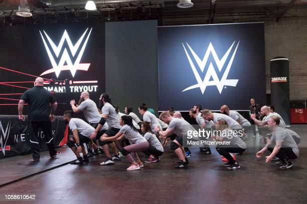 Tryout talents with headcoach Matt Bloom at the WWE Live Tryout at the Motorworld on November 7 2018 in Cologne Germany