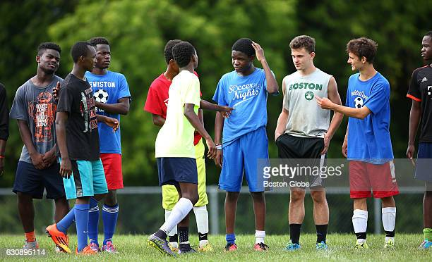 Tryouts for the Lewiston High Soccer Team are pictured on Aug 17 2015 Somali and other African refugees coexist with whites in Lewiston ME where the...