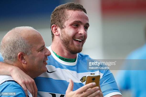 Tryscorer Bautista Stavile Brevin celebrates following the World Rugby U20 game between France and Argentina at the AJ Bell Stadium on June 7 in...