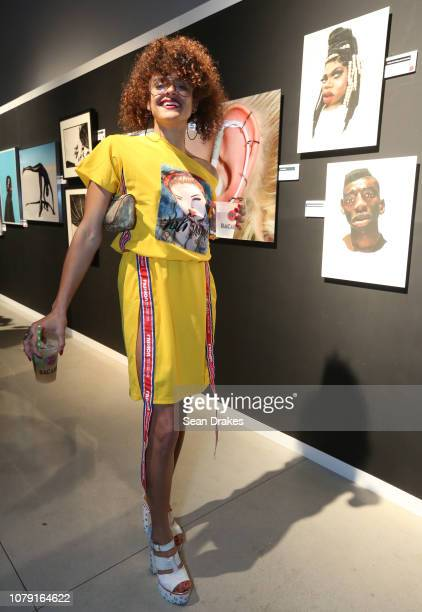 Tryshia Centeno of Puerto Rico poses at the Bacardi No Commission Marquee Performance hosted by Swizz Beatz and The Dean Collection at Faena Forum as...