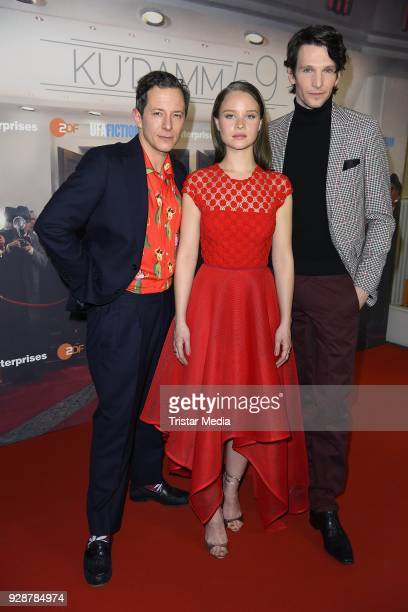 Trystan Puetter Sonja Gerhardt and Sabin Tambrea during the premiere of 'Ku'damm 59' at Cinema Paris on March 7 2018 in Berlin Germany