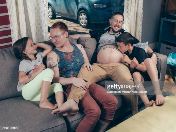 Trystan Reese who is transgender is photographed with her husband Biff Chaplow for Paris Match on June 21 2017 in Portland Oregon