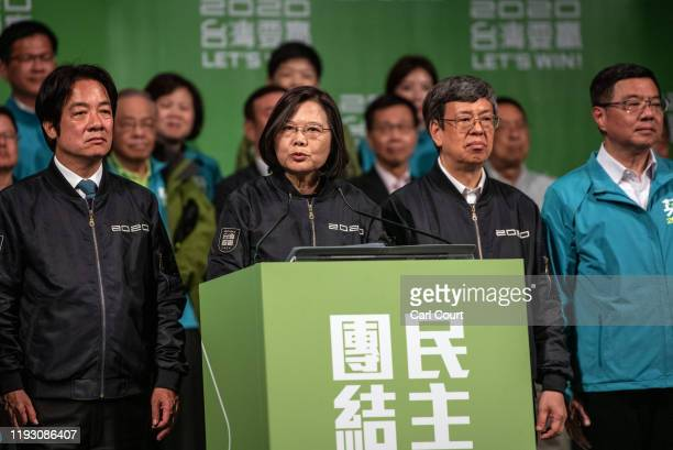 Tsai IngWen addresses supporters after being reelected as President of Taiwan on January 11 2020 in Taipei Taiwan Tsai IngWen of the Democratic...