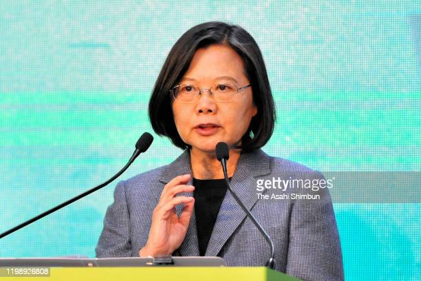 Tsai Ing-Wen addresses supporters following her re-election as President of Taiwan on January 11, 2020 in Taipei, Taiwan. Tsai Ing-Wen of the...