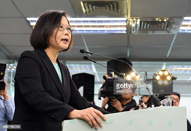 Tsai Ing-wen , chairwoman of Taiwan's main opposition Democratic Progressive Party , smiles during a press conference in Taipei on April 15, 2015....