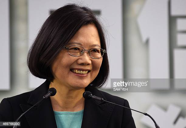 Tsai Ing-wen, chairwoman of Taiwan's main opposition Democratic Progressive Party , smiles during a press conference in Taipei on April 15, 2015. The...