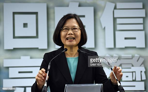 Tsai Ingwen chairwoman of Taiwan's main opposition Democratic Progressive Party smiles during a press conference in Taipei on April 15 2015 The DPP...