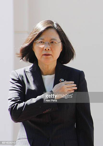 Tsai Ing-wen President of Taiwan sings the national anthem during a meeting at the the presidencial house on January 12, 2017 in San Salvador, El...