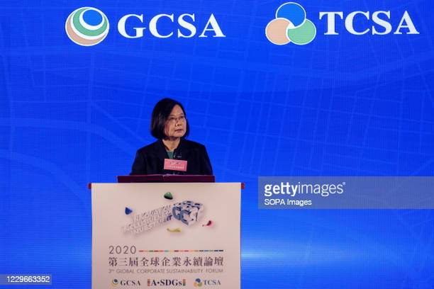 Tsai Ing-Wen, President of Taiwan, speaks during the Global Corporate Sustainability Forum in Taipei.