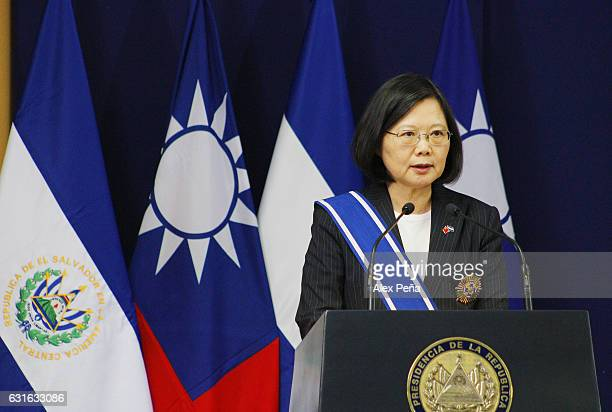Tsai Ing-wen President of Taiwan speaks to the media during a meeting at the presidencial house on January 12, 2017 in San Salvador, El Salvador....