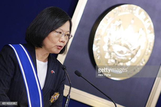 Tsai Ingwen President of Taiwan speakz for the media during a meeting at the presidencial house on January 12 2017 in San Salvador El Salvador Tsai...