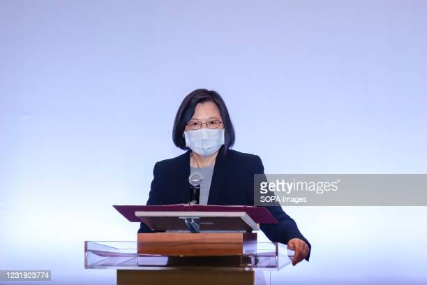 Tsai Ing-wen, Taiwanese President speaks during the Holocaust Remembrance Day 2021 at the Taipei Guesthouse in Taipei.