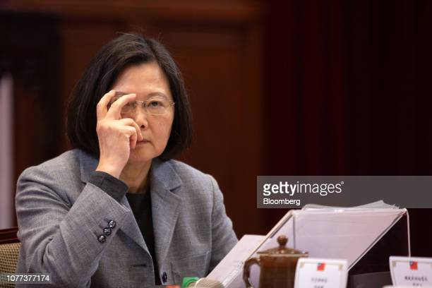 Tsai Ing-wen, Taiwan's president, adjusts her glasses during a news conference at the Presidential Palace in Taipei, Taiwan, on Saturday, Jan. 5,...