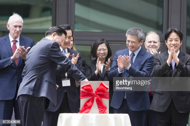 Tsai Ingwen Taiwan's president center and Kin Moy director of the American Institute in Taiwan third right attend a dedication ceremony for the...