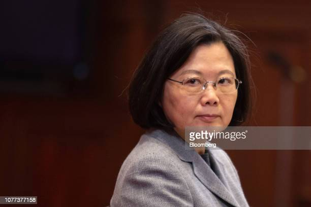 Tsai Ing-wen, Taiwan's president, looks on during a news conference at the Presidential Palace in Taipei, Taiwan, on Saturday, Jan. 5, 2019. China...