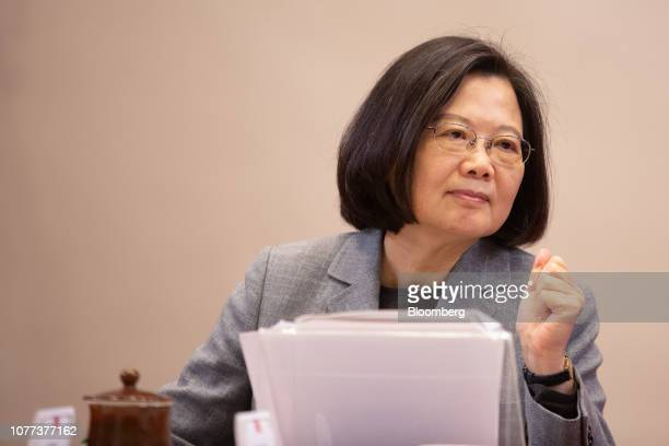Tsai Ingwen Taiwan's president looks on during a news conference at the Presidential Palace in Taipei Taiwan on Saturday Jan 5 2019 China must usher...