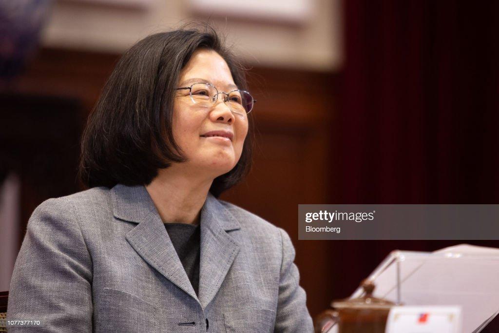 Taiwanese President Tsai Ing-wen News Conference : News Photo