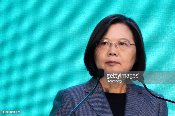 Tsai Ing-wen, Taiwan's president, pauses during a news conference in Taipei, Taiwan, on Saturday, Jan. 11, 2020. Tsai won a landslide victory over...