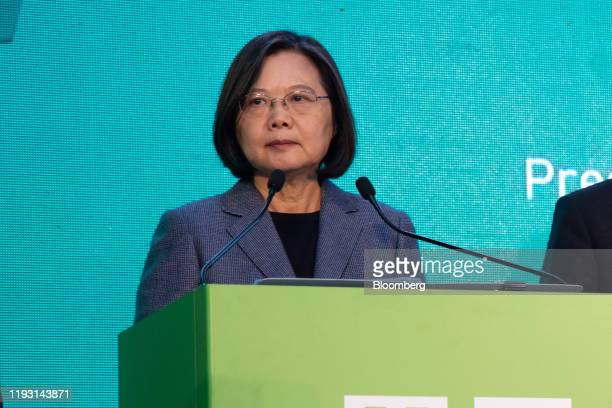 Tsai Ing-wen, Taiwan's president, pauses while speaking during a news conference in Taipei, Taiwan, on Saturday, Jan. 11, 2020. Tsai won a landslide...