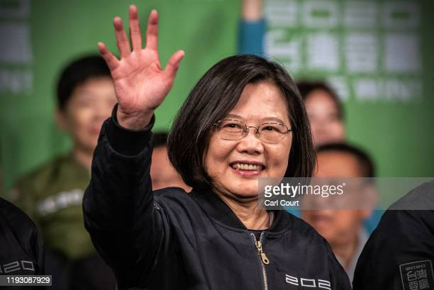 Tsai Ing-Wen waves after addressing supporters following her re-election as President of Taiwan on January 11, 2020 in Taipei, Taiwan. Tsai Ing-Wen...
