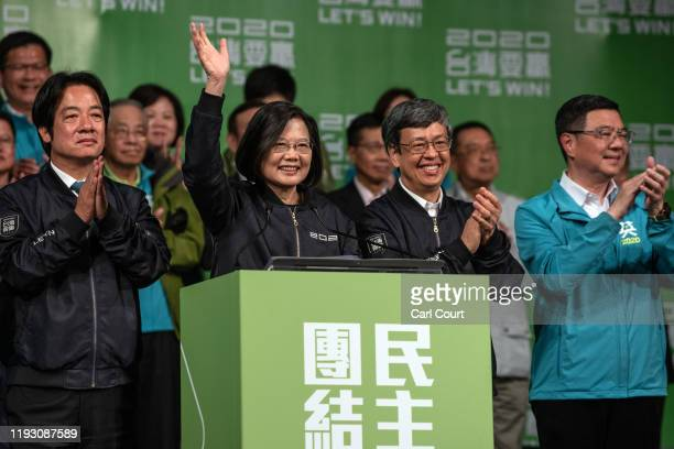 Tsai Ing-Wen waves as she addresses supporters following her re-election as President of Taiwan on January 11, 2020 in Taipei, Taiwan. Tsai Ing-Wen...