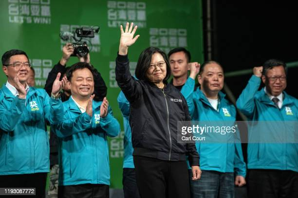 Tsai Ing-Wen waves as she arrives to address supporters following her re-election as President of Taiwan on January 11, 2020 in Taipei, Taiwan. Tsai...