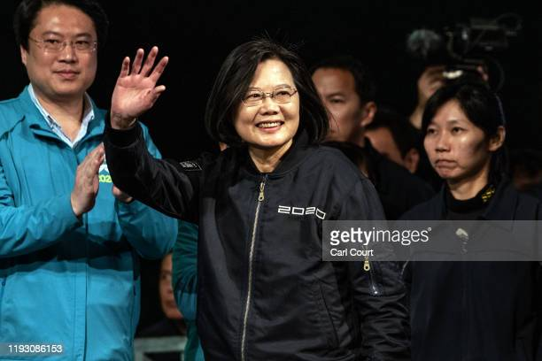 Tsai Ing-Wen waves as she walks on stage to address supporters after being re-elected as President of Taiwan on January 11, 2020 in Taipei, Taiwan....