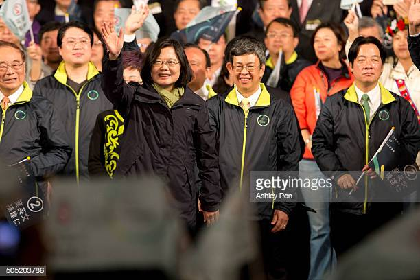 Tsai Ing-wen waves to supporters at DPP headquarters after her election victory on January 16, 2016 in Taipei, Taiwan. Tsai Ing-wen, the chairwoman...