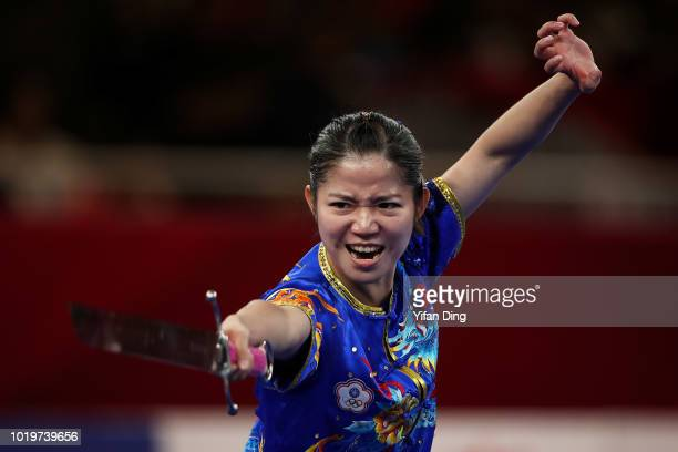 Tsai Wenchuan of Chinese Taipei competes during women's Nandao on day two of the Asian Games on August 20, 2018 in Jakarta, Indonesia.