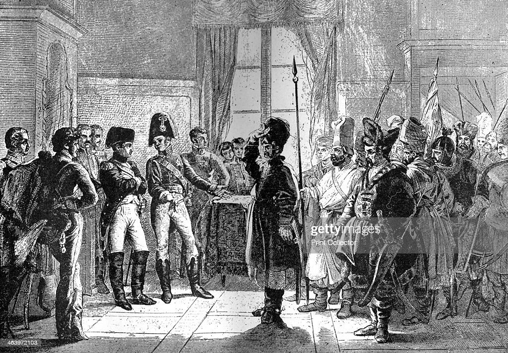 Tsar Alexander I presenting Russian troops to Napoleon, 8th July 1807 (1882-1884). : News Photo