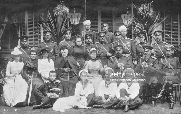 Tsar Alexander III of Russia and his family in NeuillysurSeine circa 1890 From left to right Sergei Mikhailovich and Nikolai Nicolaievich two Dukes...