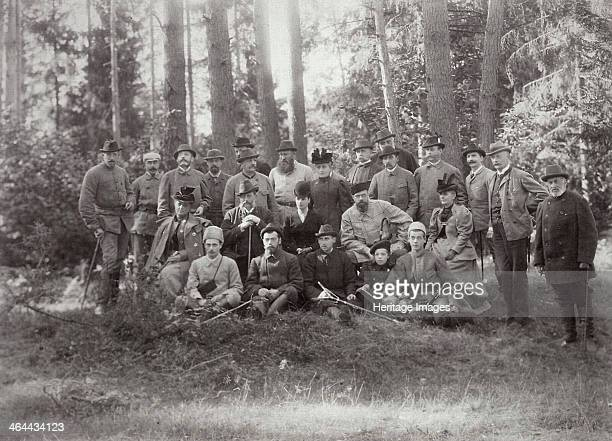 Tsar Alexander III with family and friends on a hunt in the Bialowieza Forest Russia 1894 The forest which lies on the border between modern Belarus...